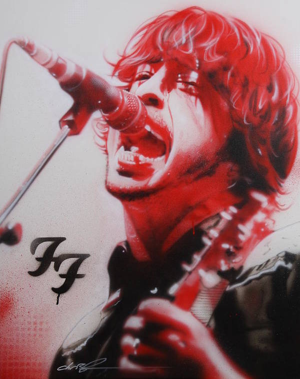 Dave Grohl Poster featuring the painting 'grohl II' by Christian Chapman