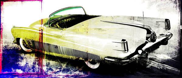 Vintage Poster featuring the digital art Grunge Retro Car by David Ridley