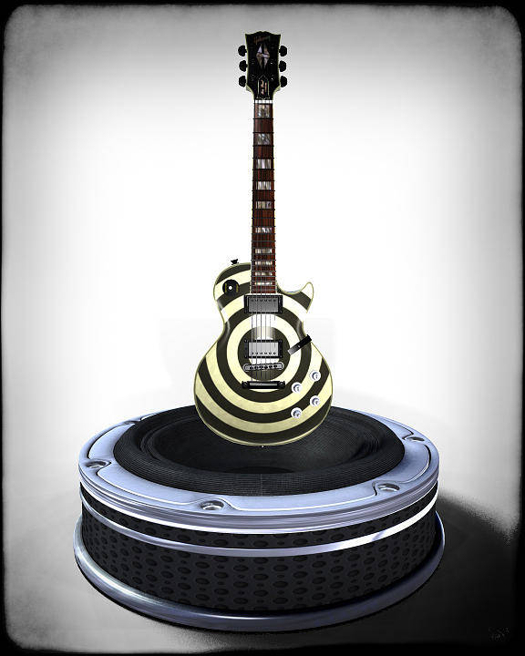 Guitar Poster featuring the digital art Guitar Desplay V2 by Frederico Borges