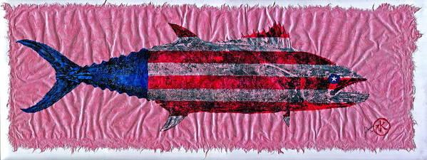 Gyotaku Poster featuring the mixed media Gyotaku - American Spanish Mackerel - Flag by Jeffrey Canha