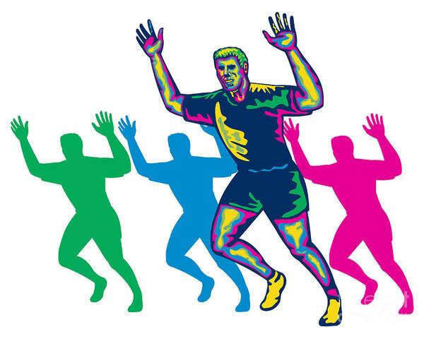 Marathon Poster featuring the digital art Happy Marathon Runner Running Retro by Aloysius Patrimonio
