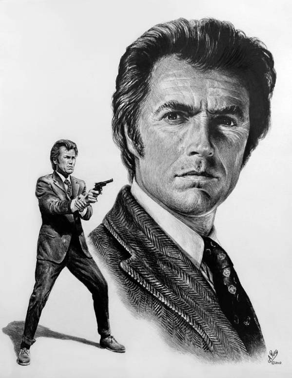 Clint Eastwood Poster featuring the drawing Harry Callahan by Andrew Read