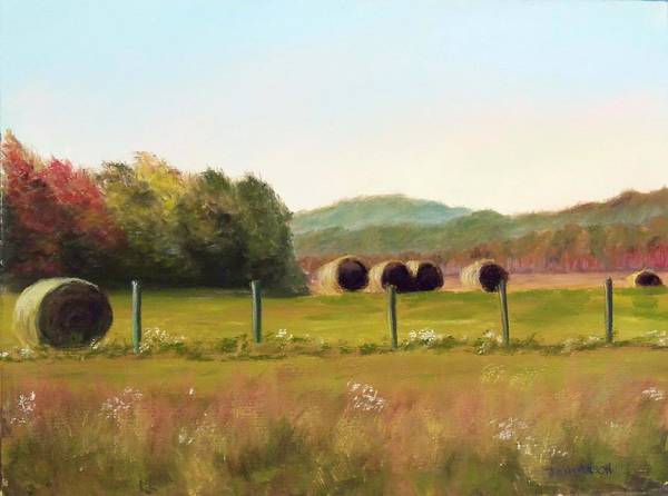 Hay Poster featuring the painting Hay Bales In The Cove by Joan Swanson