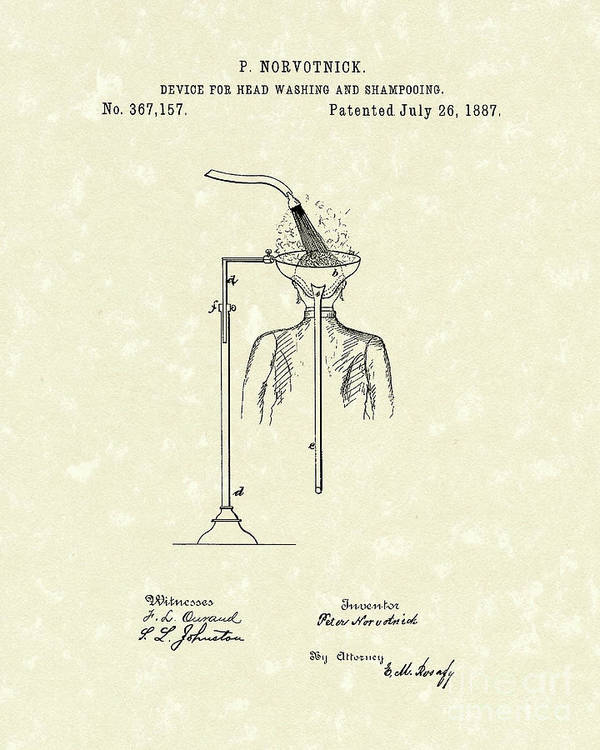 Norvotnick Poster featuring the drawing Head Washer 1887 Patent Art by Prior Art Design