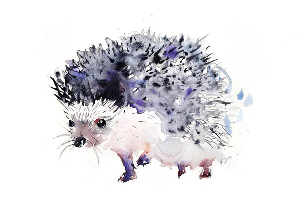 Hedgehog Poster featuring the painting Hedgehog by Kristina Bros
