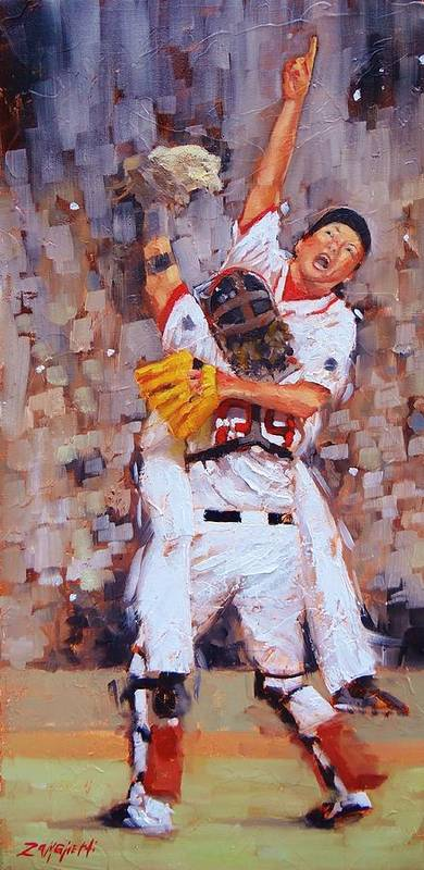 Boston Red Sox Poster featuring the painting Here We Come by Laura Lee Zanghetti