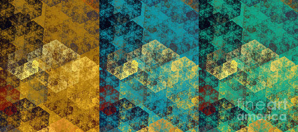 Design Poster featuring the digital art Hexagon Fractal Art Panorama by Andee Design