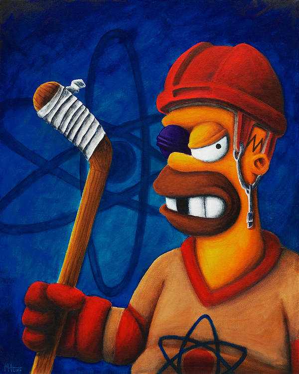 Simpsons Poster featuring the painting Hockey Homer by Marlon Huynh