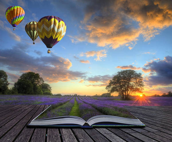 Magic Poster featuring the photograph Hot Air Balloons Lavender Landscape Magic Book Pages by Matthew Gibson