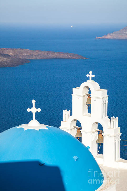 Church Poster featuring the photograph Iconic Blue Cupola Overlooking The Sea Santorini Greece by Matteo Colombo