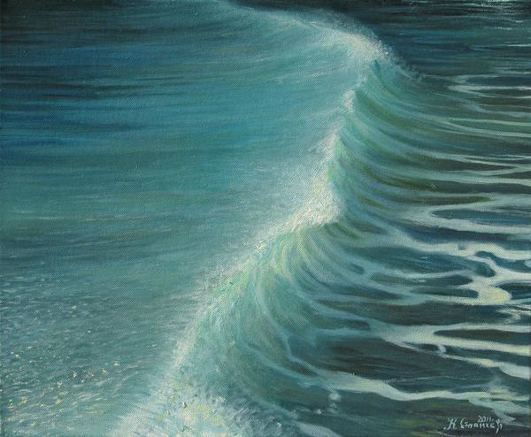 Aquatic Poster featuring the painting Impetus Summer Wave by Kiril Stanchev