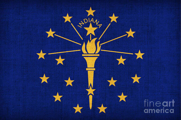 Indiana Poster featuring the painting Indiana State Flag by Pixel Chimp