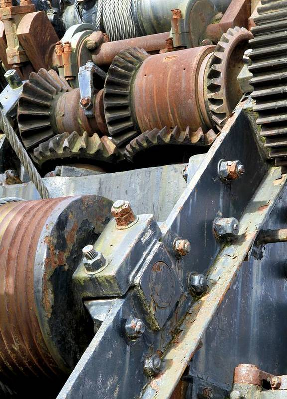 Cog Poster featuring the photograph Industrial Cogs And Pulley Wheels by Science Photo Library
