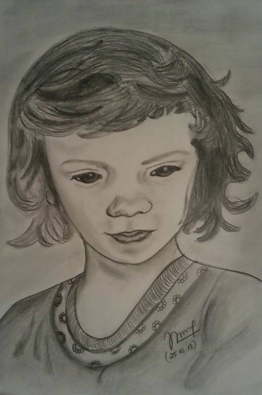 Innocence Poster featuring the drawing Innocence by Nandini Thirumalasetty