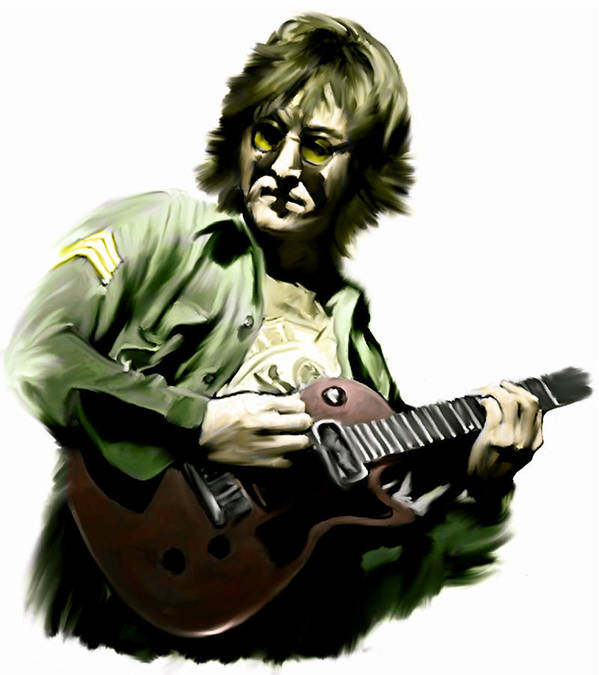 John Lennon Poster featuring the painting Instant Karma John Lennon by Iconic Images Art Gallery David Pucciarelli