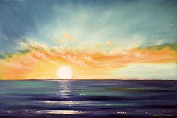 Sunset Poster featuring the painting It's A New Beginning Somewhere Else by Gina De Gorna