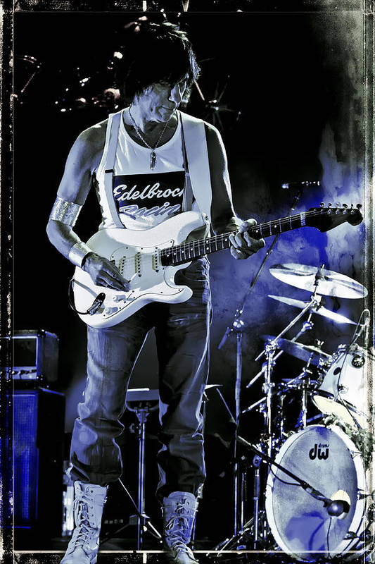 Jeff Beck Poster featuring the photograph Jeff Beck On Guitar 8 by The Vault - Jennifer Rondinelli Reilly