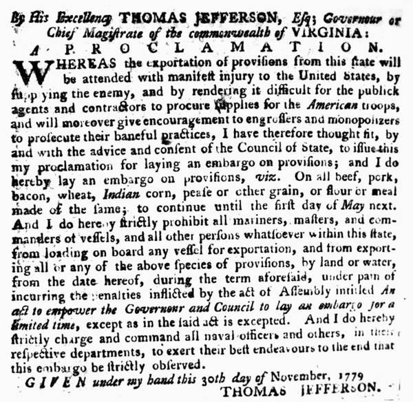1779 Poster featuring the photograph Jefferson: Embargo, 1779 by Granger