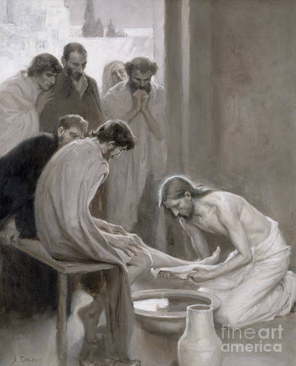 Disciple; Drying; Nordic; Cleaning; Jesus Christ; New Testament; Bible; Biblical Scene Poster featuring the painting Jesus Washing The Feet Of His Disciples by Albert Gustaf Aristides Edelfelt