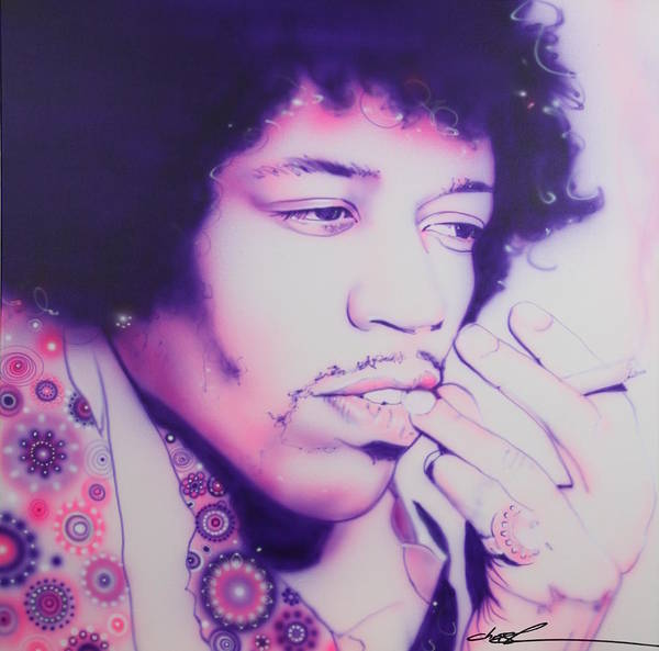 Jimi Hendrix Poster featuring the painting 'jimi' by Christian Chapman