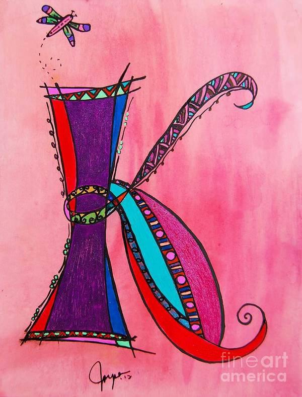 Ink Poster featuring the painting 'k' Monogram by Joyce Auteri