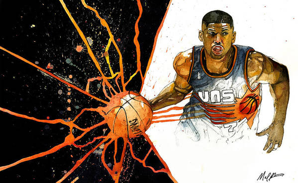 Kevin Poster featuring the painting Kevin Johnson - Power Supplier by Michael Pattison