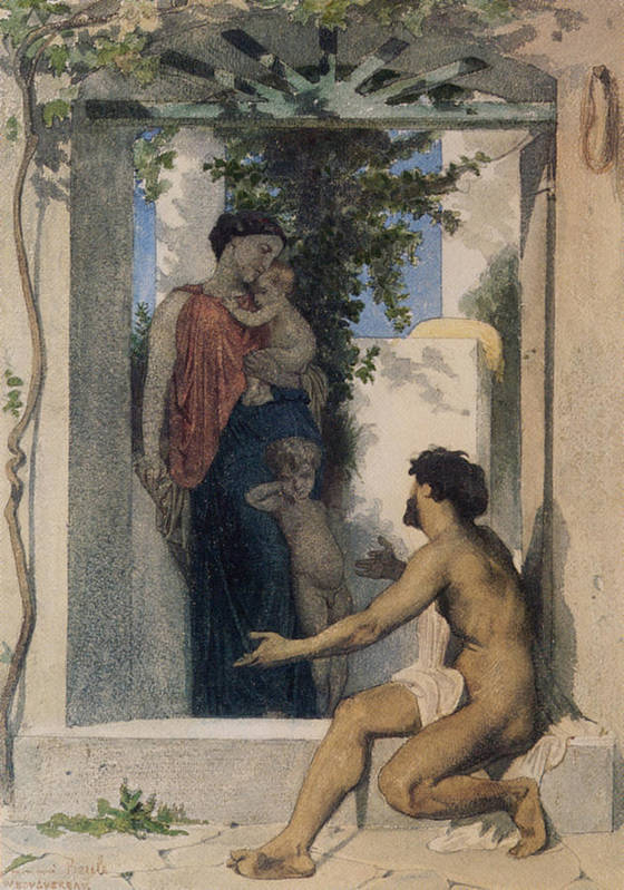 William Poster featuring the digital art La Charite Romaine by William Bouguereau