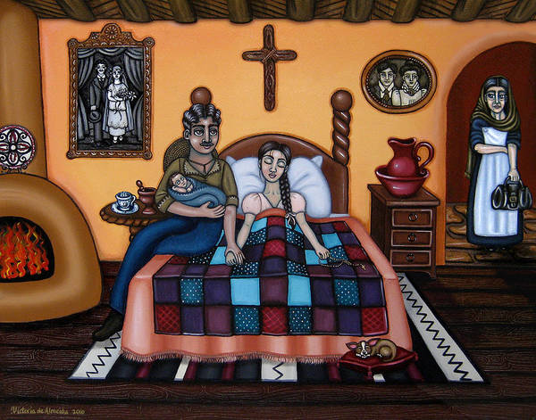Doulas Poster featuring the painting La Partera Or The Midwife by Victoria De Almeida