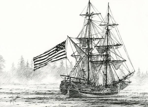 Tall Ship Print Poster featuring the drawing Lady Washington At Friendly Cove by James Williamson