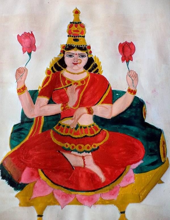Lakshmi Poster featuring the painting Lakshmi by Pratyasha Nithin