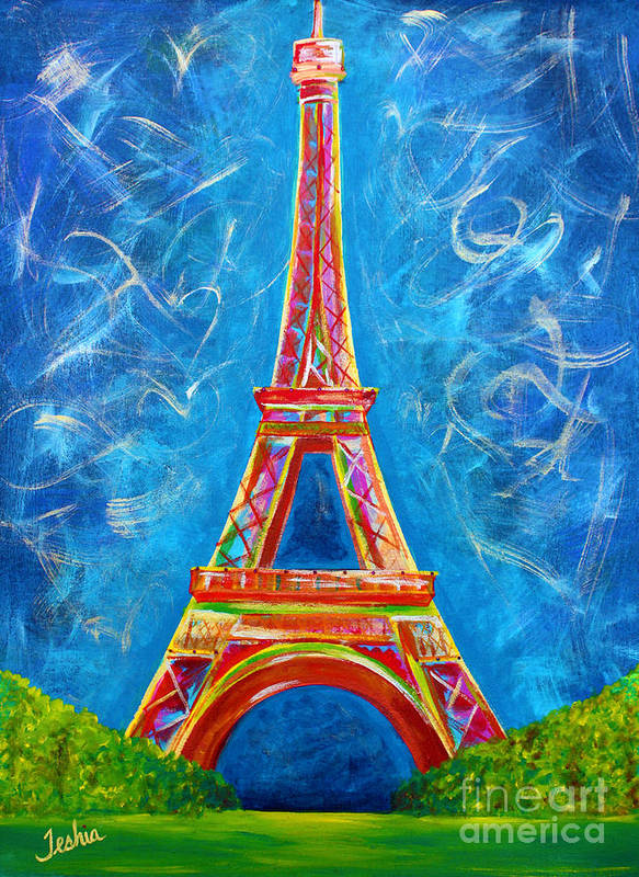 L'amour A Paris Poster featuring the painting L'amour A Paris by Teshia Art