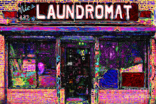 Americana Poster featuring the photograph Laundromat 20130731 by Wingsdomain Art and Photography