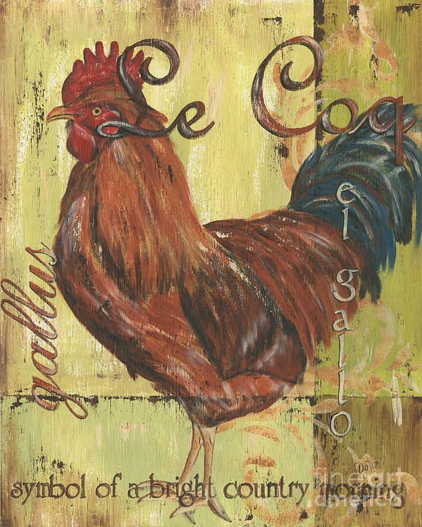 Rooster Poster featuring the painting Le Coq by Debbie DeWitt