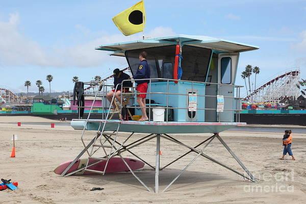 California Poster featuring the photograph Lifeguard Shack At The Santa Cruz Beach Boardwalk California 5d23712 by Wingsdomain Art and Photography