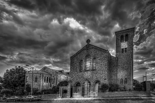 Red Brick Poster featuring the photograph Light Above The Church by Marvin Spates
