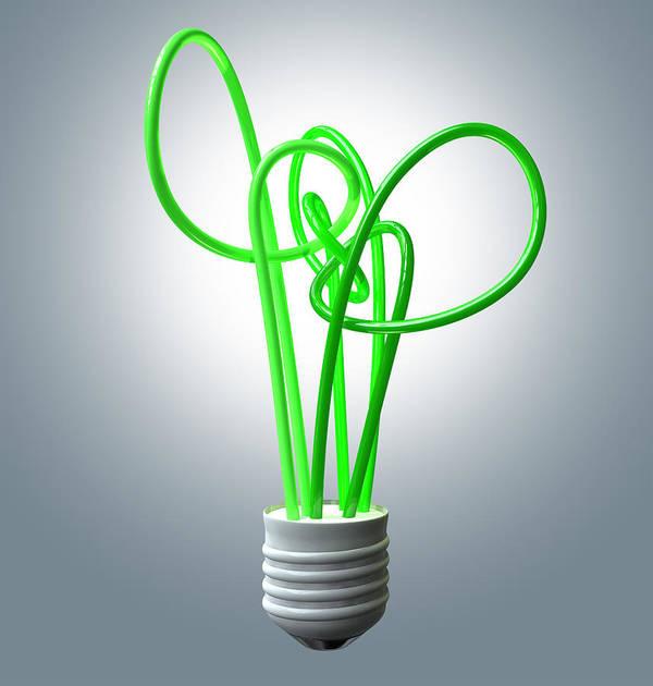 Green Energy Poster featuring the digital art Light Bulb Green Energy Flourescent by Allan Swart