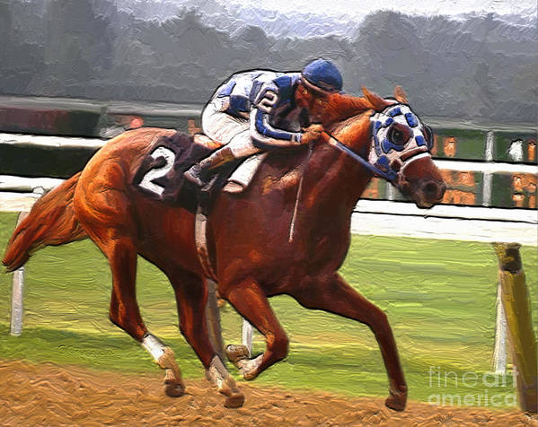 Secretariat At Belmont Poster featuring the painting Like A Tremendous Machine by GCannon