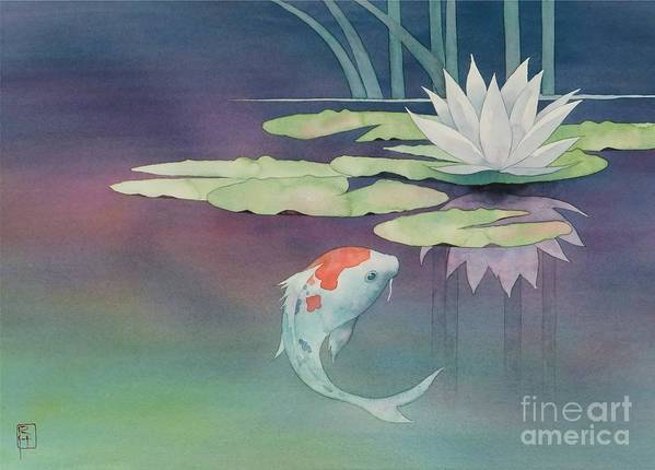 Watercolor Poster featuring the painting Lily And Koi by Robert Hooper