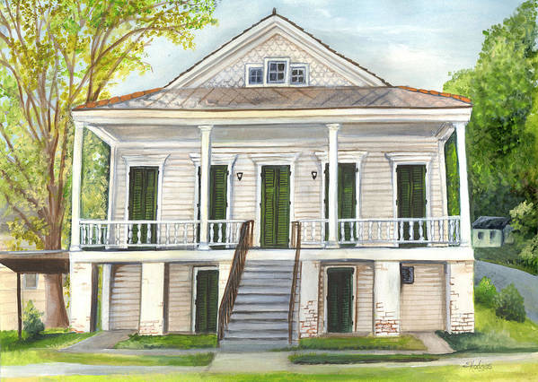 Louisiana Poster featuring the painting Louisiana Historic District Home by Elaine Hodges