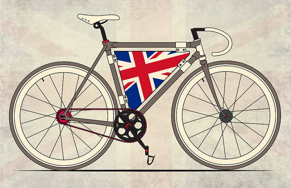 Bradley Poster featuring the digital art Love Bike Love Britain by Andy Scullion