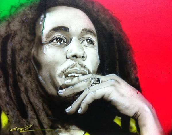 Bob Marley Poster featuring the painting 'love The Life You Live - Live The Life You Love' by Christian Chapman Art