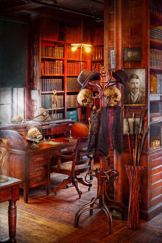 Headhunter Poster featuring the photograph Macabre - In The Headhunters Study by Mike Savad