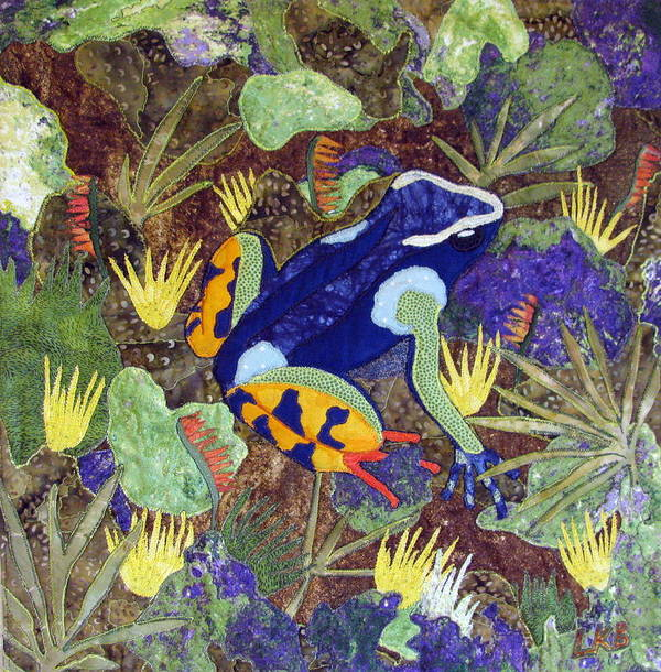 Art Quilt Tapestries - Textiles Poster featuring the tapestry - textile Madagascar Mantella by Lynda K Boardman