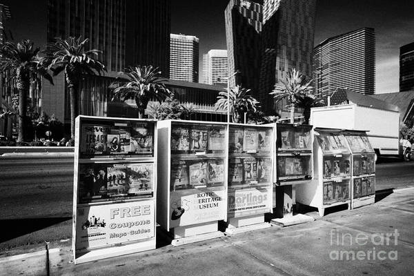 Magazine Poster featuring the photograph magazine stands free coupons guides and escort directories Las Vegas Nevada USA by Joe Fox