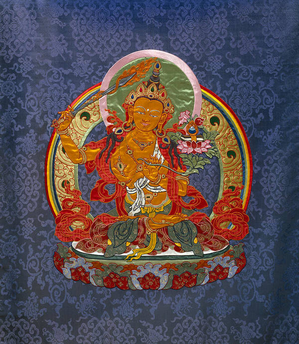 Manjushri Poster featuring the tapestry - textile Manjushri by Leslie Rinchen-Wongmo