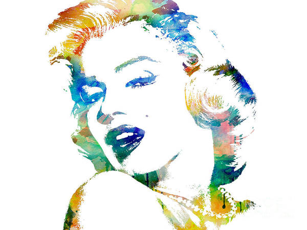 Marilyn Monroe Poster featuring the digital art Marilyn Monroe by Mike Maher