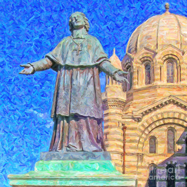 Painting Poster featuring the painting Marseille Cathedral Painting by Antony McAulay