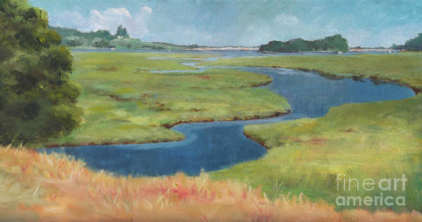 Acrylic Poster featuring the painting Marshes At High Tide by Claire Gagnon