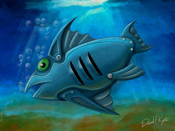 Fish Poster featuring the digital art Mechanical Fish 4 by David Kyte