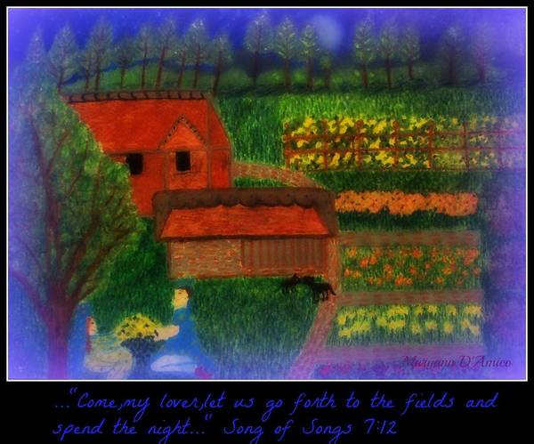 Garden At Night Poster featuring the pastel Meditation Number 4 Song Of Songs by Maryann DAmico